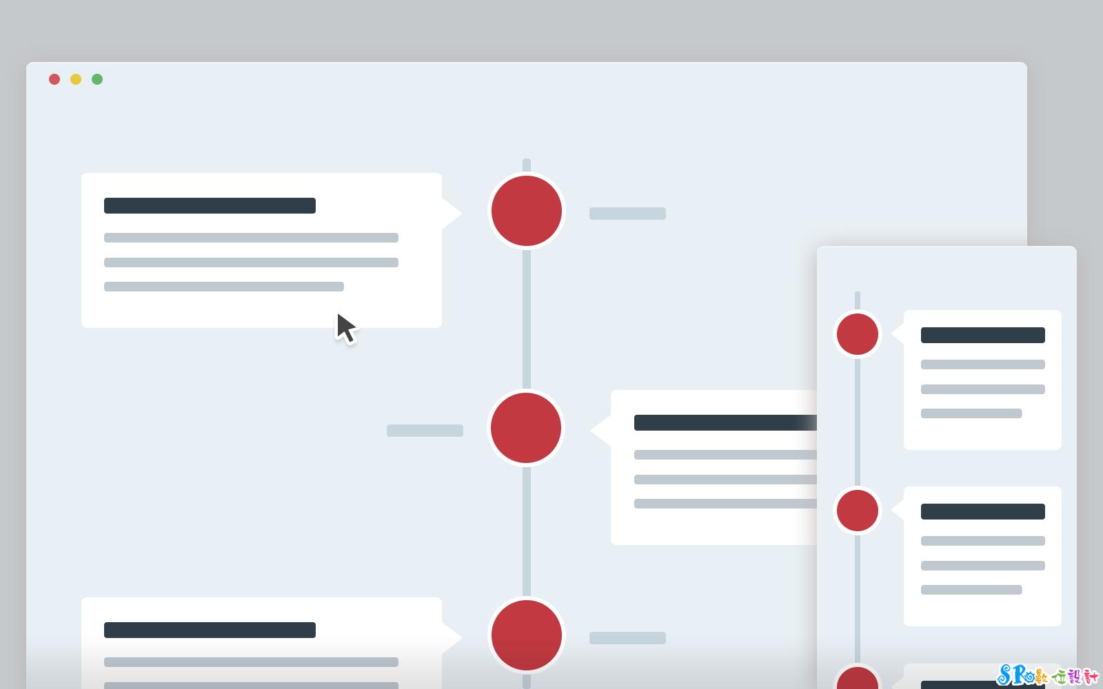 网页设计仿fb时光轴js网站效果 (支援响应式)图片